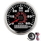 Velocímetro GPS digital, indicador de velocidad LCD, odómetro, curso, 85 mm, 60 km/h, con retroiluminación roja para motocicleta, camión, yate, 12 V/24 V