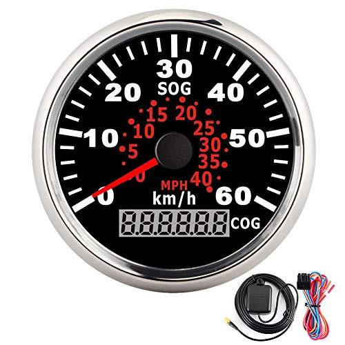 Gorgeri GPS Tachometer 60 km/h Kilometerzähler 85 mm Universal Auto Head Up Display Digitaler Tachometer mit roter Hintergrundbeleuchtung für Motorrad Auto Truck Yacht 12V/24V