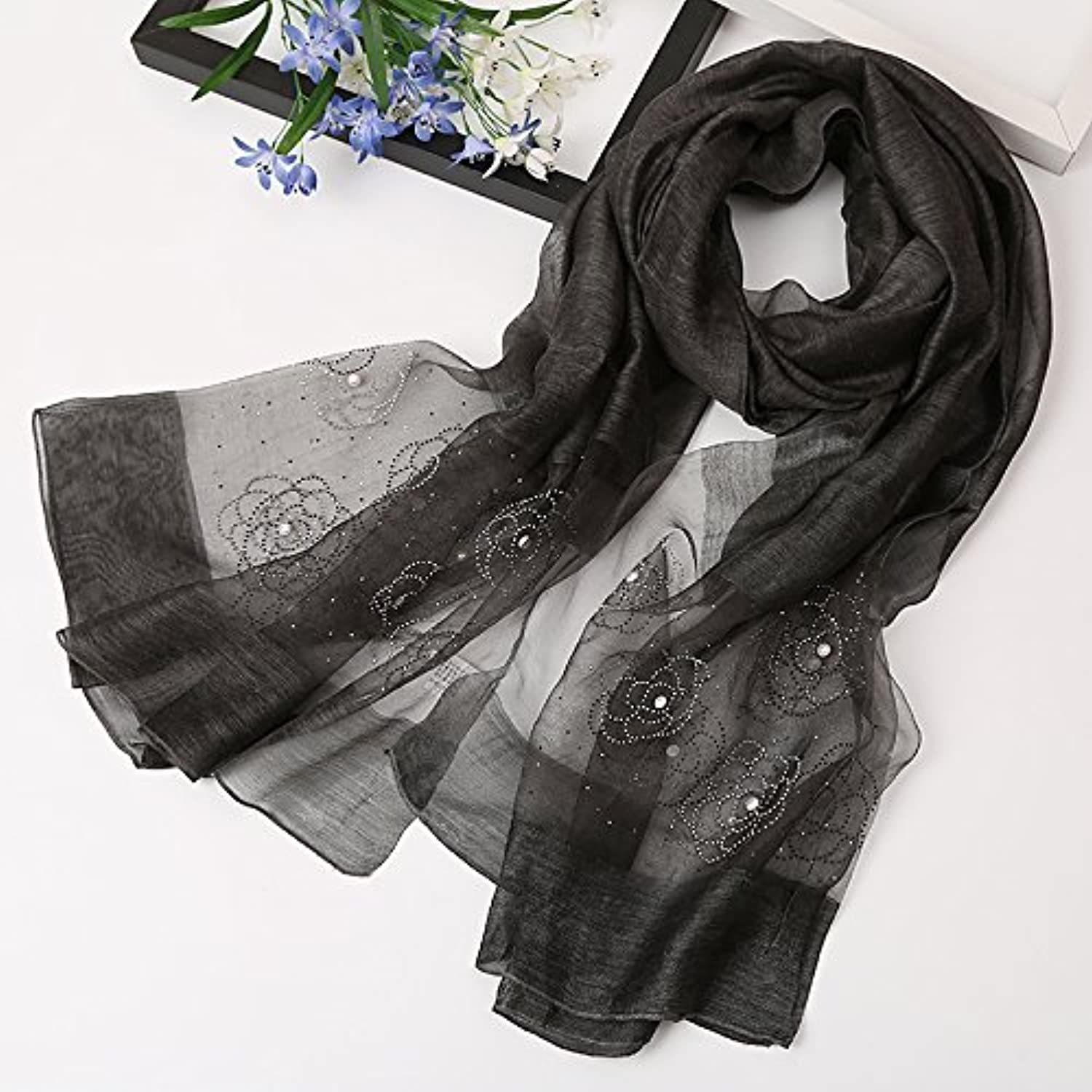 SED ScarfDuring The Spring and Autumn Female Scarf Wild Scarf Silk Shawls Silk Scarf Long Mulberry Silk Scarf Thin Imitation Cashmere Scarf Female Autumn and Winter Korean Students Knitted Shawl lo