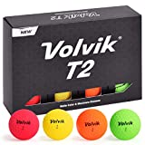 Volvik T2 Ionomer Polymer Low Side Spin Matte Finished Long Distance Balls 2-Pieces, 1 Dozen (Multicolor)
