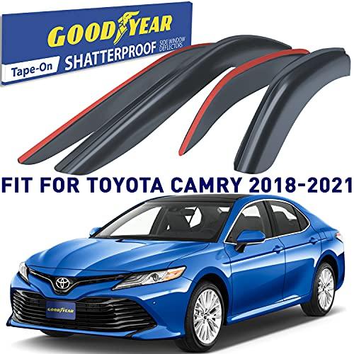 Goodyear Shatterproof Side Window Deflectors for Toyota Camry 2018-2021, Tape-on Rain Guards, Window Visors for Cars, Vent Deflector, Vent Visor, Car Accessories, 4 pcs- GY003125