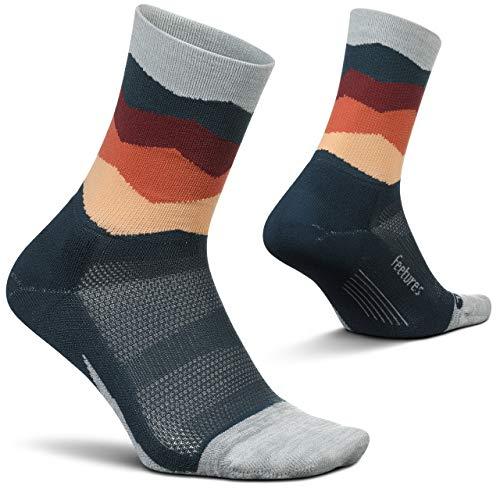 Feetures Elite Light Cushion Mini Crew Sock Wave - - Large