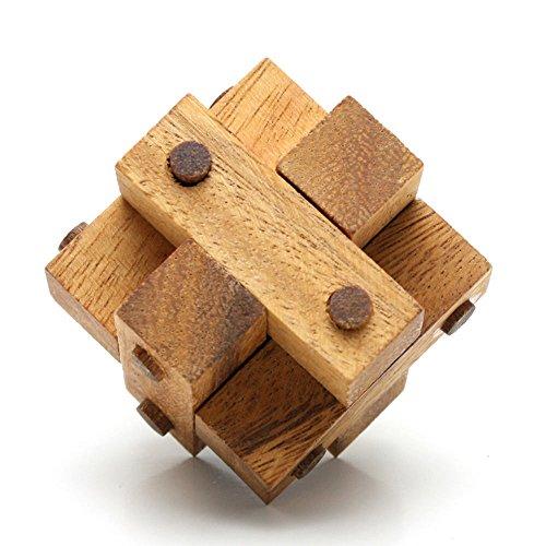 Logica Jeux Art. Cube Cloué - Casse-tête 3D en Bois Précieux - Difficulté 3/6 Difficile - Collection Leonardo da Vinci