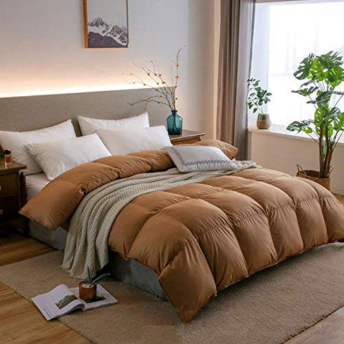 Hahaemall Duvets King Size 10.5 Tog All Seasons Duvet Insert Classic Quilt Hypoallergenic 100% Cotton Shell Down Proof- Classic -Anti-allergy-Duvet Quilt-Coffee color_200x230cm-3000g