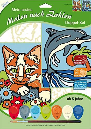 MAMMUT 102002 - Mein erstes Malen nach Zahlen, Tiermotive, Katze & Delfin, Doppelpack, Komplettset mit 2 bedruckten Malvorlagen, 7 Acrylfarben und Pinsel, Malset für Kinder ab 5 Jahre