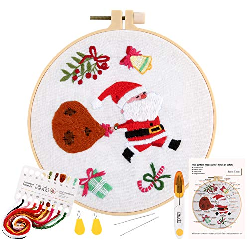 Caydo 1 Set Christmas Beginner Embroidery Kit, Santa Claus Pattern for Adults and Kids,Christmas Wall Decor (16cm)