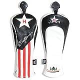 Craftsman Golf Black Red White Stripe Star Driver/Fairway Wood/Hybrid Headcover #1#3#5 H for All Brands Callaway Big Bertha Cobra Taylormade Ping Mizuno Etc. (H Hybrid UT Cover)