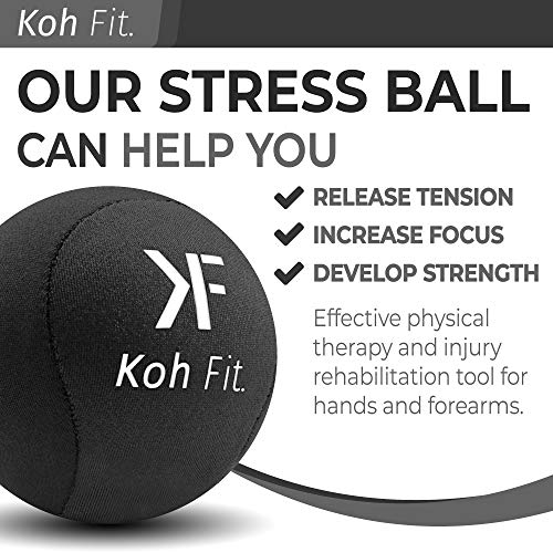 Koh Fit Stress Ball for Adults - Stress Reliever Squeeze Balls - 2 Bonus Ebooks: Hand Therapy Exercise Guide + Stress Relief Guide