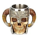 Ruiting Taza de Acero del diseño del cráneo 3D Taza Inoxidable esquelético de la Jarra de Cerveza Vaso para Beber cráneo Taza de té Espeluznante Taza de café