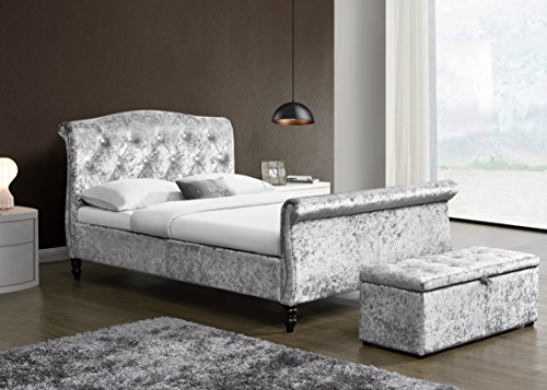 Cherry Tree Furniture MEISSA Silver Grey Crushed Velvet Sleigh Bed Frame with Curved Diamante Headboard & Footboard (4FT6 Double)
