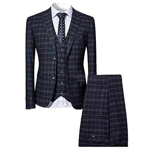 Mens 3 Piece Slim fit Checked Suit Blue/Black Single Breasted Vintage Suits,Black,Large