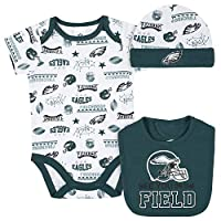 NFL Philadelphia Eagles 3 Pack Bodysuit Cap and Bib Registry Gift Set, Green/Black Philadelphia Eagles, 3-6M