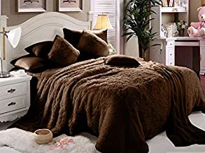 Comfy Luxe Faux Fur 6pcs Soft Blanket Set,King Size - Brown