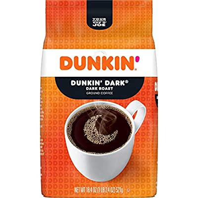 Dunkin' Dark Roast Ground Coffee, 18.4 Ounces (Pack of 6) (Packaging May Vary), Set of 2