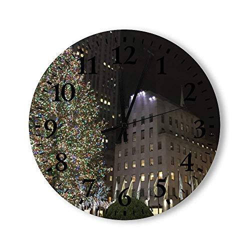 New York Christmas NYC Rockefeller Center Tree Round Wall Clock, Rustic Silent Clocks Farmhouse Cabin Country Home Decor