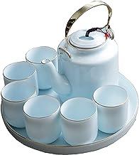 Thee Cup Set, handgemaakte porseleinen thee set met 1 theepot, 6 theekopjes, 1 lade, voor Outdoor Picnic Business Hotel Of...