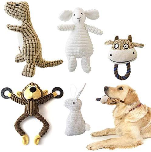 ZB ZealBoom 5 Stücke Quietsch Spielzeug Hund Hundespielzeug Quietschend Kauspielzeug Hund Plüschtier Hundespielzeug für Hündchen Kleine Medium Hund, Dinosaurier, AFFE, Schaf, Kaninchen und Stier
