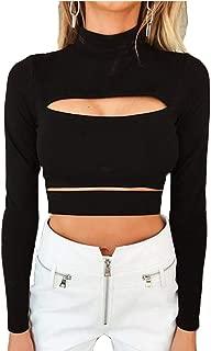 Susupeng Women Mock Neck Long Sleeve Cut Out Open Front Crop Top Tee Tops Slim Short T-Shirt