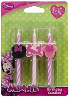CakeDrake MINNIE MOUSE Pink Black Bow Striped (6) Birthday Party Cake Topper CANDLES