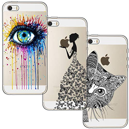 [3 Pack] Funda para iPhone 5, Funda iPhone 5S, Funda iPhone SE, Blossom01 Ultra Suave Funda de Silicona para TPU con Dibujo Animado Lindo para iPhone 5 / 5S / SE - Eye & Butterfly Girl & Cat