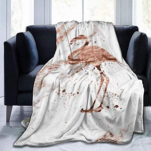 CVMFE Throw Blanket,Rose Gold Marble Flamingo,Warm Ultra Soft Flannel Fleece Light Weight Blanket Sofa Bed Living Room Bedroom for Adult Children