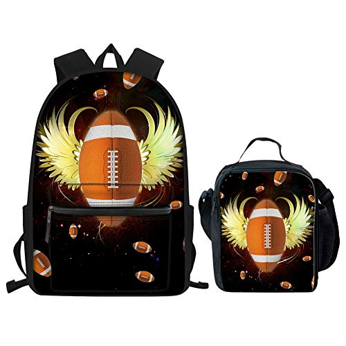 Nopersonality Schulranzen-Set für Jungen, Fußball, Baseball, Rugby, Rucksack, Kleiner Rucksack, Rugby School Bag Set (Schwarz) - Nopersonality