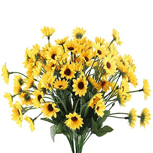 HUAESIN 4pcs Künstliche Sonnenblumen 22 Köpfe Blumen Realistische Kunstblumen Sonnenblume Seidenblumen Deko Plastik Blumen für Garten Balkon Topf Vase Friedhof Hochzeit Zuhause 25 X 33cm