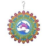 QPLKL Windspiele Metallgarten Delphin Wind Spinner 12 Zoll 3D Edelstahl Outdoor Kardinal Yard Spinner mit hängendem Haken für Terrasse Heimtextilien