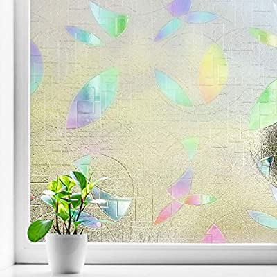 Coavas 3D Decorative Window Film Non-Adhesive Static Cling No Glue Window Film Glass Window Cling Anti UV Removable Static Cling for Kids Home Kitchen Rental Room and Office 17.7 x 78.7 Inches