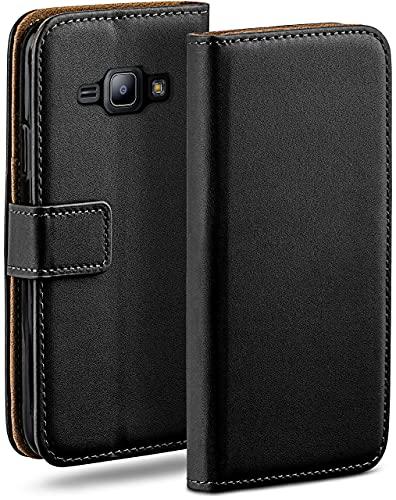 moex Klapphülle für Samsung Galaxy J1 (2015) Hülle klappbar, Handyhülle mit Kartenfach, 360 Grad Schutzhülle zum klappen, Flip Case Book Cover, Vegan Leder Handytasche, Schwarz