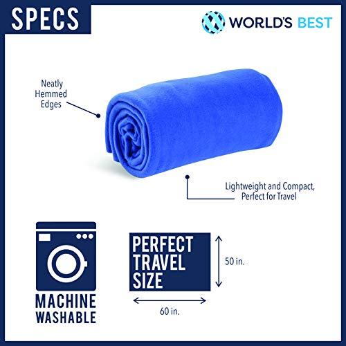 World's Best Cozy-Soft Microfleece Travel Blanket, 50 x 60 Inch, Leopard