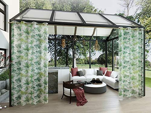 Clothink Outdoor Vorhänge mit Ösen 132x245cm (1 Stück) - Winddicht Wasserdicht Vorhänge Outdoor Gardinen, Mehltau beständig, für Gartenlauben Balkon, Strandhaus Vorhalle, Pergola, Cabana
