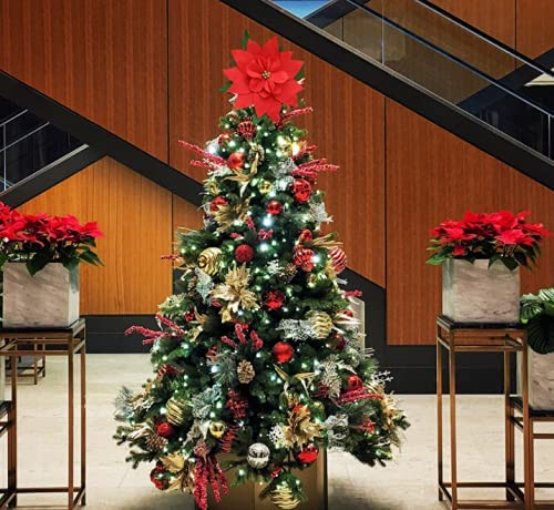 Christmas Tree Toppers Recommended Large Flower Limited price sale Chri Red Ornaments