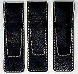 DiLoro Full Grain Genuine Buffalo Leather Black Pen Cases Set of 3