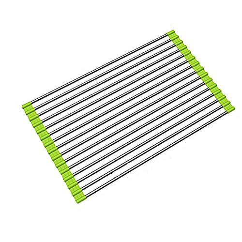 17.8''x15.8'' Roll up Dish Drying Rack over the Sink Dish Drying Rack 304 Stainless Steel Dish Rack Foldable Dish Drainers for Kitchen Sink Counter By Ahyuan (Light Green)