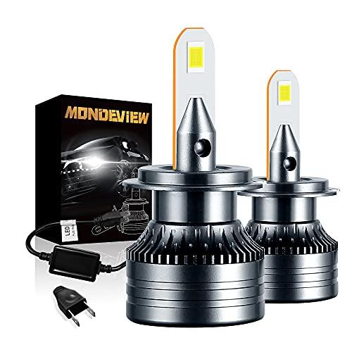 MONDEVIEW Coppia Lampadine H7 6000K 60W 16000LM Lampade H7 LED Faro Fendinebbia Per Moto Auto Ventilato Luminosità Estremamente Elevata 360° IP68 Impermeabile Sostituisci H7 Lampada Alogena Bi-xeno
