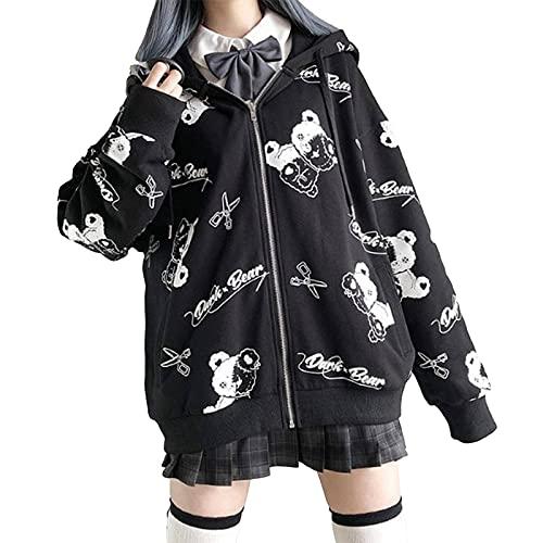 NC Y2K Harajuku Gothic Damen Kapuzenpullover mit Kapuze und Sweatshirt Niedliche Schwarze Jacke mit Bärendruck für Teenager-Mädchen