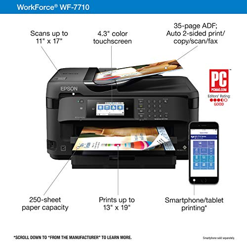WorkForce WF-7710 Wireless Wide-format Color Inkjet Printer with Copy, Scan, Fax, Wi-Fi Direct and Ethernet, Amazon Dash Replenishment Ready Photo #5