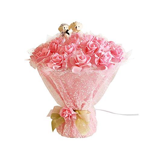 Lámparas de escritorio Lámpara de mesa de estilo pastoral, lámpara de ramo de rosas románticas Habitación de matrimonio, lámpara de pie de gasa de malla PVC Snow Mesh Regulable