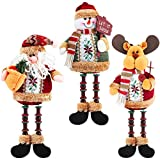 Aneco 3 Pack Christmas Ornament Long Legs Sitting Table Decorations Santa Snowman Reindeer Desktop Collectible Doll Table Decor Holiday Party Supplies