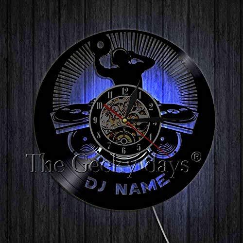 xcvbxcvb Custom Wall Clock DJ Vinyl Record Wall Clock Custom DJ Name Decorative Art Clock 3D Wall Watches Handmade Gift For DJ