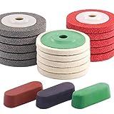 Keadic 13Pcs 100mm×8mm Wool Felt Polishing Wheel Disc Kit for 4' Angle Grinder, Comes with 3Pcs Buffing, Polishing & Cutting Compounds - Black, Brown & Green (18Pcs Polishing & Sanding Wheel Disc Kit)