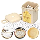 1.4 LB Pie Weights for Blind Baking, Ceramic Beads Pie Crust Weights 10mm Baking Beans with Wheat Straw Container(640G)