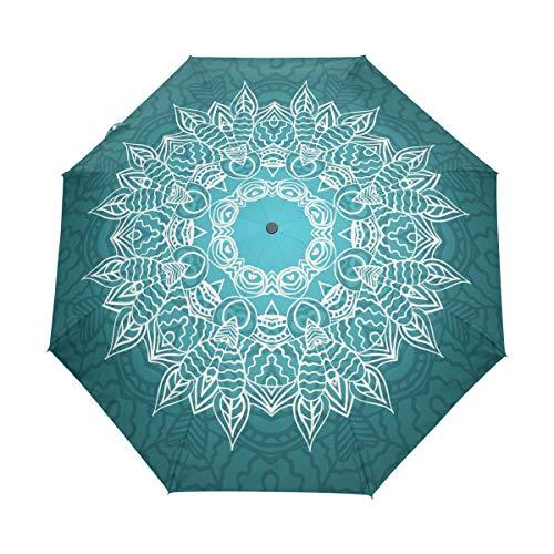 Jeansame Paraguas automático de lluvia con diseño de mandala, diseño bohemio, plegable, para mujeres, hombres, niños y niñas