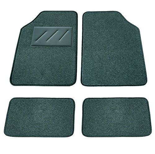 Carfactory - Alfombra Moqueta Universal, modelo BASIC, color gris, 4 piezas.