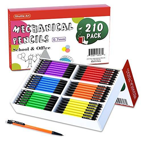 Mechanical Pencils, Shuttle Art 210 Pack Bulk Mechanical Pencils 0.7mm Medium Point, HB #2 Lead, Assorted Barrels, Office School Supplies