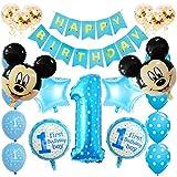 SUNSK Globos Cumpleaños 1 año Decoración de Mickey Globos de Latex Globos de Foil Confeti Happy Birthday Banner Decoración de cumpleaños 23 Piezas