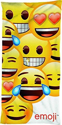 BERONAGE Serviette de bain Emojie Smiley 75 cm x 150 cm – 100 % coton – Serviette de plage / drap de bain – Emojis doux assorti à la parure de lit