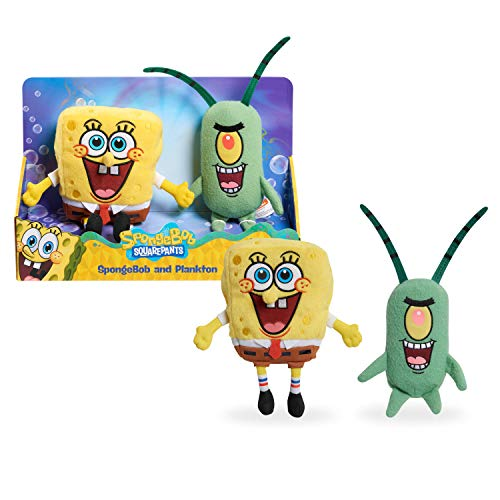 Nickelodeon Spongebob Squarepants 2-Piece Plush Set, Spongebob and Plankton