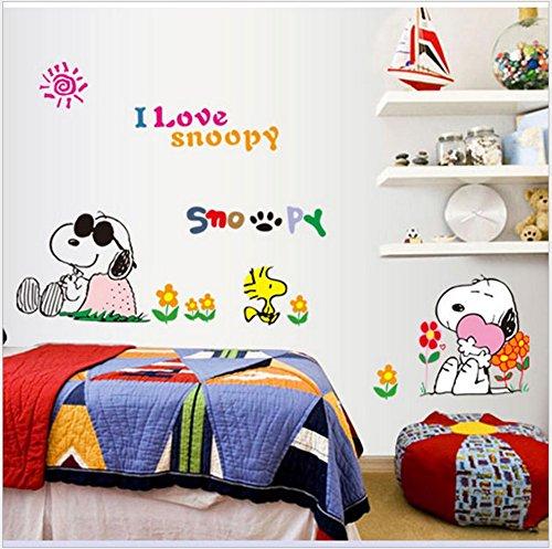 【アイ ラブ スヌーピー】 I LOVE SNOOPY ウォール ステッカー ポスター 貼って はがせる 壁紙 壁シ...